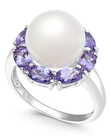Cultured White Freshwater Pearl (10mm) & Tanzanite (2 ct. t.w.) Ring in Sterling Silver