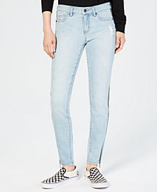 Dollhouse Juniors' Ripped Side-Zipper Skinny Jeans