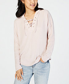 Hippie Rose Juniors' Velvet Lace-Up Hooded Top