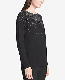 Calvin Klein Embellished-Front Sweater