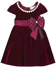 Rare Editions Toddler Girls Pearl-Trim Velvet Dress