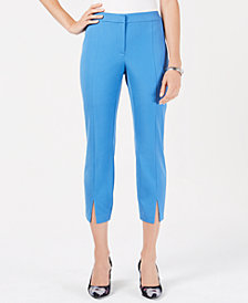 Alfani Cropped Vented Slim-Leg Pants, Created for Macy's