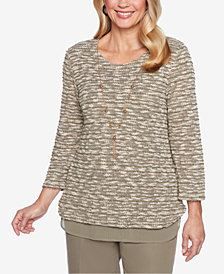 Alfred Dunner Petite Layered-Look Necklace Sweater