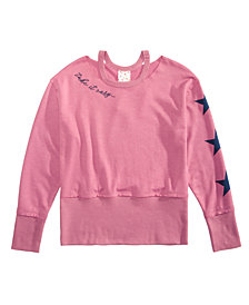 Belle Du Jour Big Girls Cropped Drop Shoulder Sweatshirt