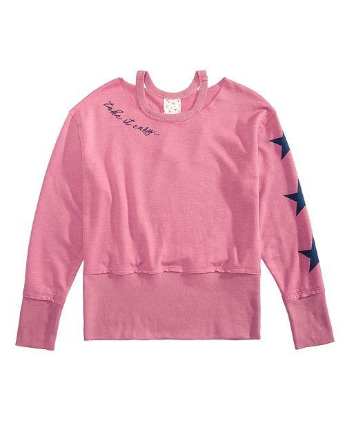 Big Girls Cropped Drop Shoulder Sweatshirt
