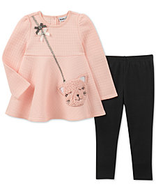 Kids Headquarters Little Girls 2-Pc. Cat Purse Tunic & Leggings Set