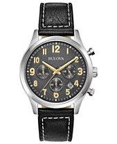 Bulova Men's Chronograph Black Leather Strap Watch 41mm, Created for Macy's
