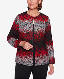 Alfred Dunner Petite Sutton Place String-Print Jacquard Jacket