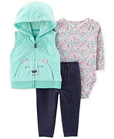 Carter's Baby Girls 3-Pc. Bear Fleece Vest, Bodysuit & Denim Leggings Set