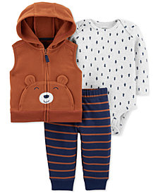 Carter's Baby Boys 3-Pc. Bear Fleece Vest, Bodysuit & Jogger Pants Set