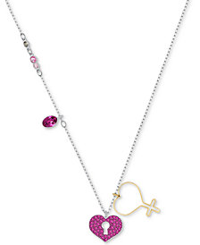 "Swarovski Two-Tone Pavé Heart Lock Pendant Necklace, 14-4/5"" + 3"" extender"