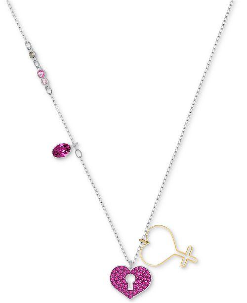 Swarovski two tone pav heart lock pendant necklace 14 45 3 8900 aloadofball Images