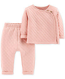 Carter's Baby Girls 2-Pc. Quilted Top & Pants Set