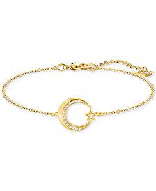 Swarovski Gold-Tone Pavé Crescent Moon & Star Link Bracelet