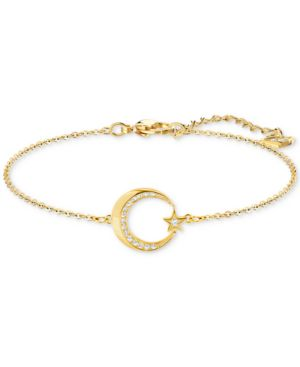 Gold-Tone Pave Crescent Moon & Star Link Bracelet, White