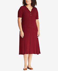 Lauren Ralph Lauren Plus Size Waffle-Knit Cotton Dress