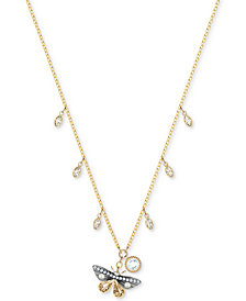"Swarovski Two-Tone Crystal & Imitation Pearl Butterfly Pendant Necklace, 14-4/5"" + 3"" extender"