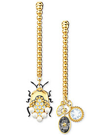 Swarovski Two-Tone Crystal & Imitation Pearl Scarab Mismatch Linear Drop Earrings