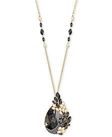 "Swarovski Gold-Tone Crystal & Stone Owl 27-1/2"" Pendant Necklace"