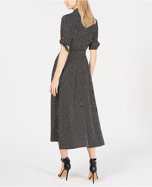6d209e4d448 Calvin Klein Polka Dot Belted Maxi Shirtdress & Reviews - Dresses ...