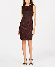 Calvin Klein Two-Tone Brocade Sheath Dress