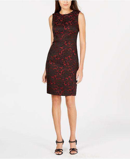 8f135c80b6ea4 Calvin Klein Two-Tone Brocade Sheath Dress   Reviews - Dresses ...