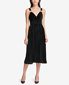 GUESS Velvet Pleated Fit & Flare Dress