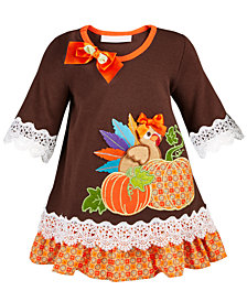 Bonnie Baby Baby Girls Lace-Trim Turkey Dress