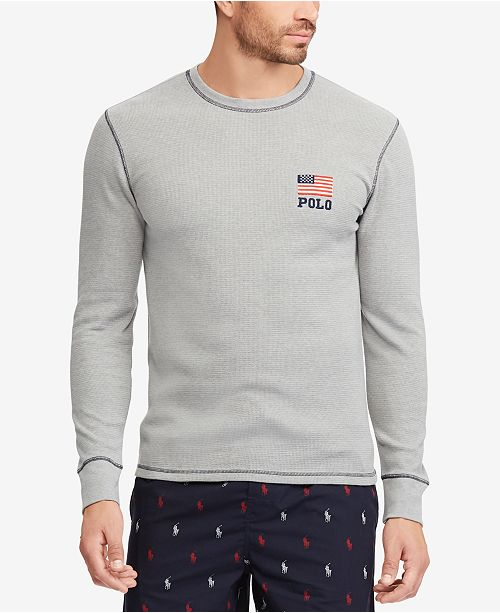 8b193561 Polo Ralph Lauren Men's Big & Tall Waffle-Knit Thermal with Flag ...