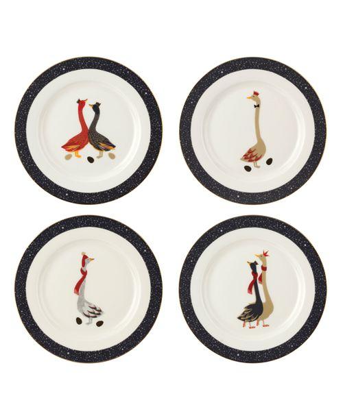 Portmeirion CLOSEOUT! Sara Miller Christmas Geese Set of 4 Salad Plates