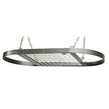 Grey Hammered Oval Ceiling Pot Rack