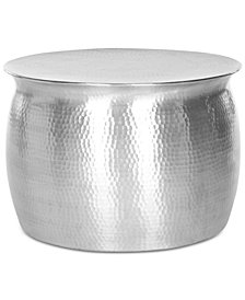 Aztec Hammered Metal Table Stool, Quick Ship