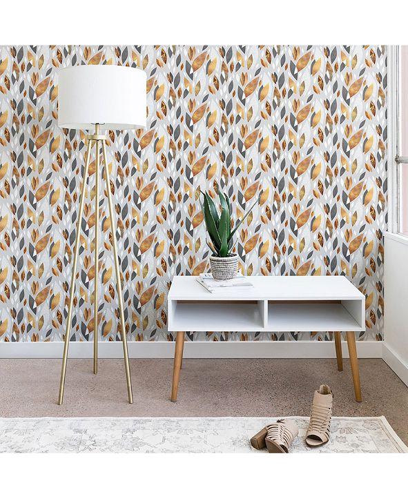 Deny Designs Elisabeth Fredriksson Falling Gold Leaves 2'x4' Wallpaper
