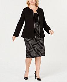 Alfani Plus Size Beaded Jacket & Straight Skirt, Created for Macy's