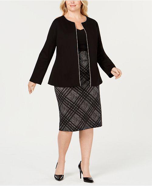 dc3b320aaa6 Alfani Plus Size Beaded Jacket   Straight Skirt