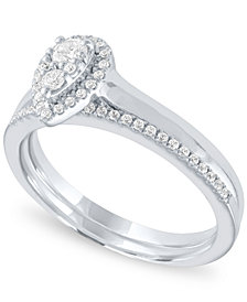 Diamond Pear Halo Cluster Bridal Set (1/3 ct. t.w.) in 14k White Gold