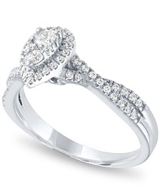 Diamond Pear Halo Ring (1/2 ct. t.w.) in 14k White Gold