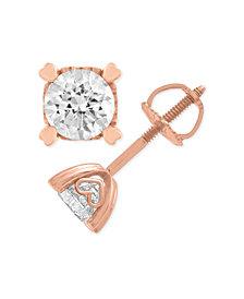 Diamond Stud Earrings in Heart Shape Prongs (1/4 ct. t.w.) in 14k Rose Gold