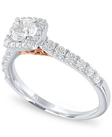 Diamond Two-Tone Halo Engagement Ring (1 ct. t.w.) in 14k White and Rose Gold