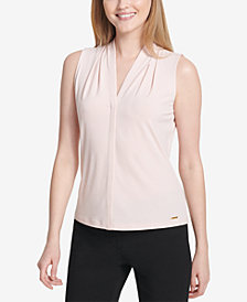 Calvin Klein Petite Pleated-Neck Shell