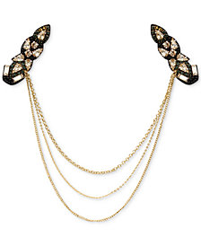 Deepa Gold-Tone Multi-Stone Triple-Layer Drape Hair Clip