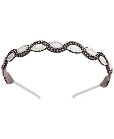 Deepa Gunmetal-Tone Crystal & Imitation Pearl Headband