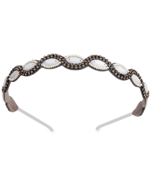 1920s Flapper Headband, Gatsby Headpiece, Wigs Deepa Gunmetal-Tone Crystal  Imitation Pearl Headband $8.96 AT vintagedancer.com