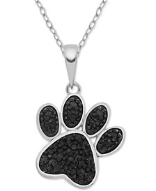 "Diamond Paw 18"" Pendant Necklace (1/10 ct. t.w.) in Sterling Silver"