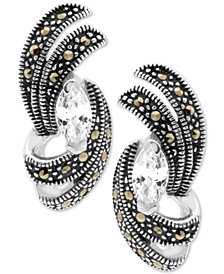 Cubic Zirconia & Marcasite Swirl Stud Earrings in Fine Silver-Plate