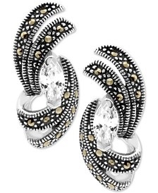 Cubic Zirconia & Marcasite Swirl Stud Earrings in Fine Silver-Plate