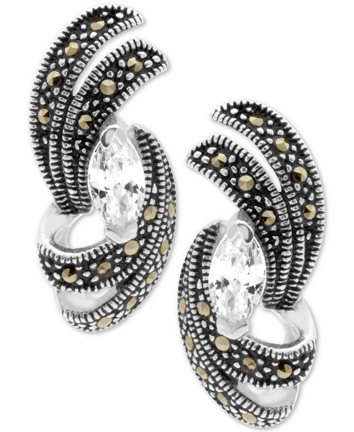Macy's - Cubic Zirconia & Marcasite Swirl Stud Earrings in Fine Silver-Plate
