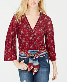 Self Esteem Juniors' Faux-Wrap Tie-Hem Top