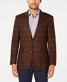 Tommy Hilfiger Men's Modern-Fit TH Flex Stretch Light Brown/Blue Windowpane Sport Coat