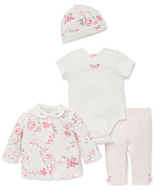 Little Me Baby Girls 4-Pc. Printed Cardigan, Body Suit, Pants & Hat Set